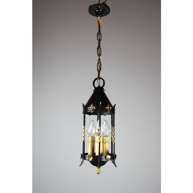 A lovely Spanish Colonial Revival lantern made by Moe Bridges Co, Milwaukee. Cleaned, rewired, restored, and ready to...