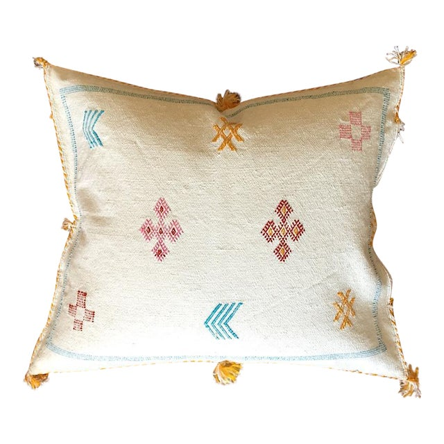 White Moroccan Sabra Cactus Silk Pillow Cover - Image 1 of 10