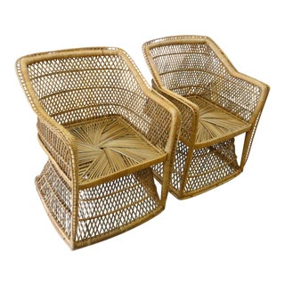 1980s Traditional Island Style Rattan Chairs - a Pair