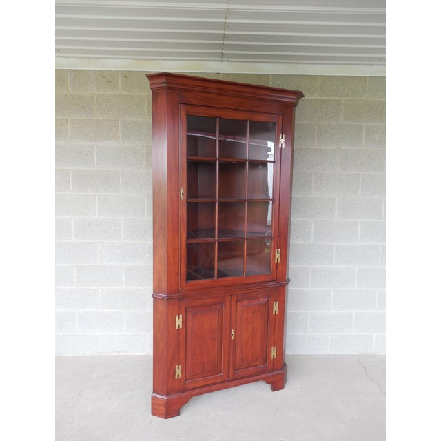 Henkel Harris Lighted Cherry Chippendale Style 12 Pane Corner China Cabinet - Image 12 of 12