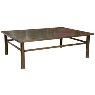 Acid Etched Bronze Zodiac Coffee Table by Laverne For Sale