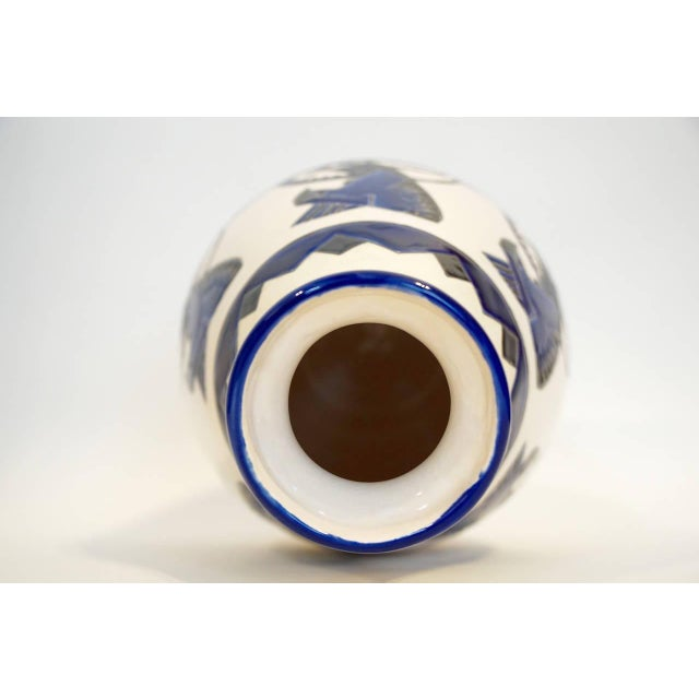 Art Deco Rare Cobalt and Cream Charles Catteau Vase For Sale - Image 3 of 8