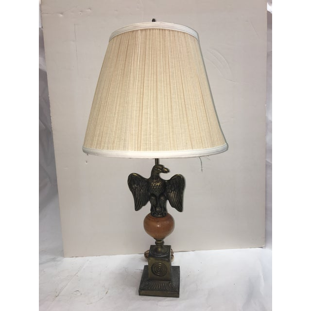 Vintage brass eagle base table lamp chairish an old table lamp with a brass eagle at the shaft above the brass and wood greentooth Choice Image