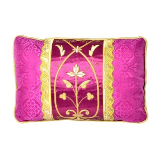 Antique Gothic Revival Gold Embroidered Magenta Silk Pillow - 24ʺW × 24ʺH For Sale