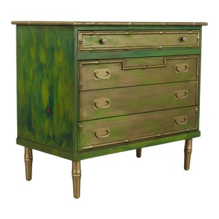 Painted Green Painted Faux Bamboo Chest of Drawers For Sale
