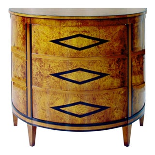 Art Deco Burled Olivewood Demier Door Cabinet For Sale