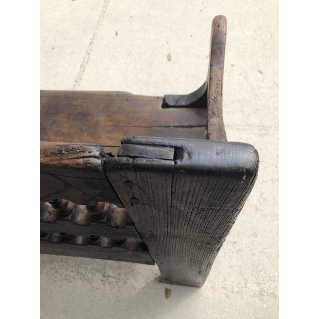 Wood 18th Century Dutch Colonial Robustly Built Hall Bench For Sale - Image 7 of 7