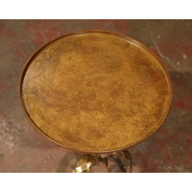 1920's French Gilt Painted Iron Pedestal Martini Side Table For Sale - Image 4 of 11