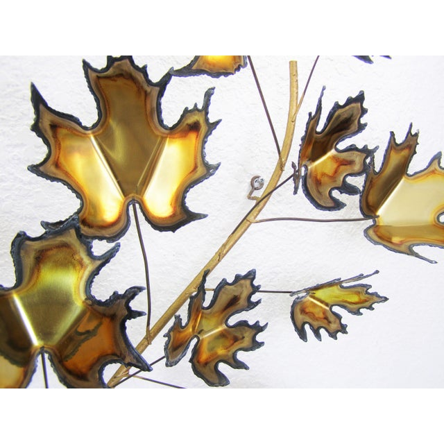 Gold Curtis C. Jere Style Mid-Century Modern Brutalist Brass Wall Sculpture MCM For Sale - Image 8 of 11