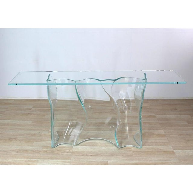 Modern Outstanding Free-Form Molded Glass Wave Pattern Console Table For Sale - Image 3 of 10