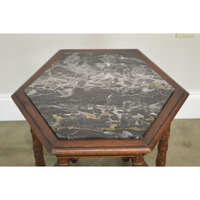 Antique Italian Carved Walnut Hexagon Marble Top Taboret Side Table For Sale - Image 10 of 13
