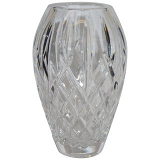 Heavy Cut Crystal Diamond Pattern Waterford Vase Signed Sinead Christian, 1999 For Sale