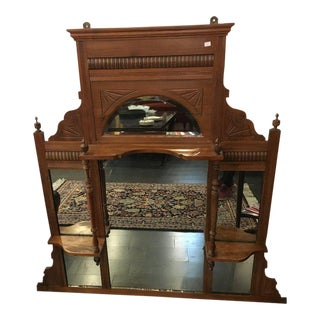 Antique Wooden Mirror With Trinket Shelves For Sale