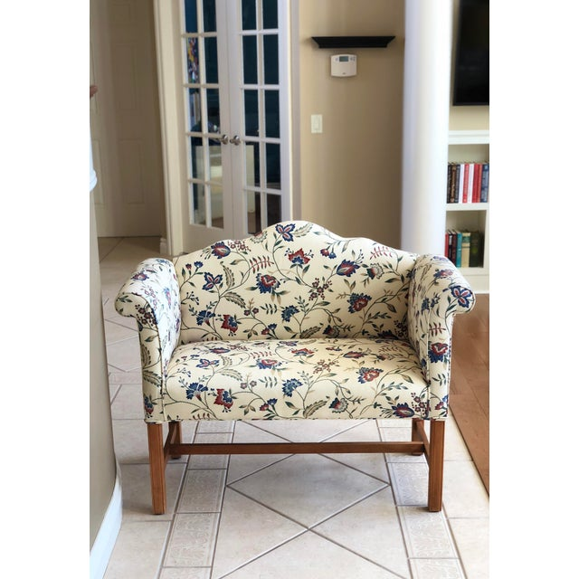 White Vintage Camelback Chippendale Mahogany Floral Sofa For Sale - Image 8 of 9