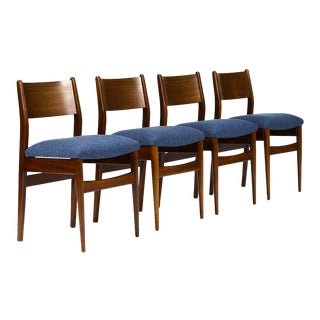 1960s Danish Modern Mahogany Framed Dining Chairs - Set of 4 For Sale