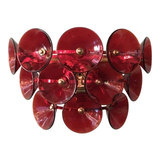 Mid 20th Century Vintage Red Trumpets Sconces by Fabio Ltd For Sale