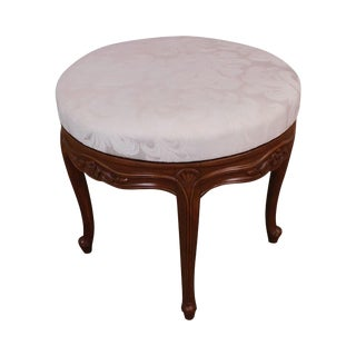 French Louis XV Style Vintage Fruitwood Revolving Stool For Sale