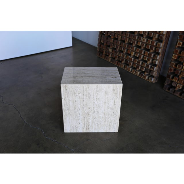 Late 20th Century Travertine Pedestal or Side Table, Circa 1975 For Sale - Image 5 of 12