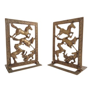 Mid Century Chinese Tang Horse Greek Key Brass Bookends For Sale