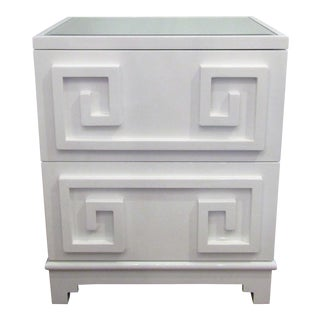 Contemporary White Lacquer Side Table Cabinet For Sale