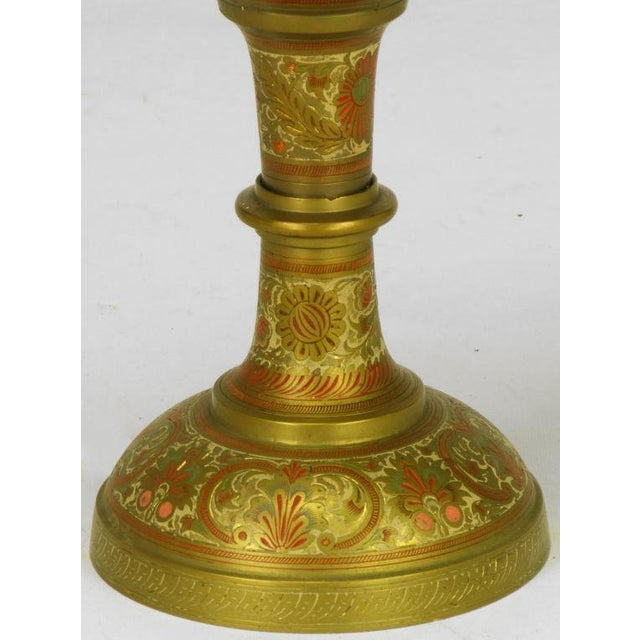 Gold Incised Brass & Hand Painted Peacock Vase Form Table Lamp For Sale - Image 8 of 8