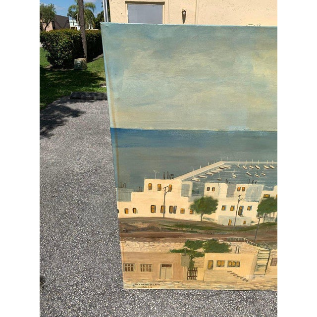 Paint Monumental Oil Painting Mykonos Island Greece Signed by G.Tsitsilianos 1986 For Sale - Image 7 of 13