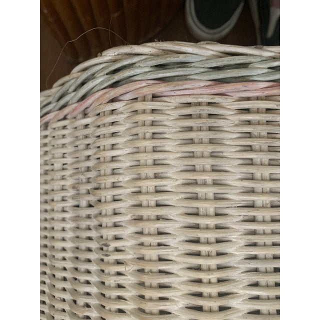 1960s 1960s White-Washed Natural, Pink and Mint Striped Octagonal Wicker Clothes Hamper With Braided Trim For Sale - Image 5 of 13