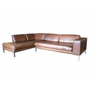 Modern Gambrell Renard Leather Sectional Sofa For Sale