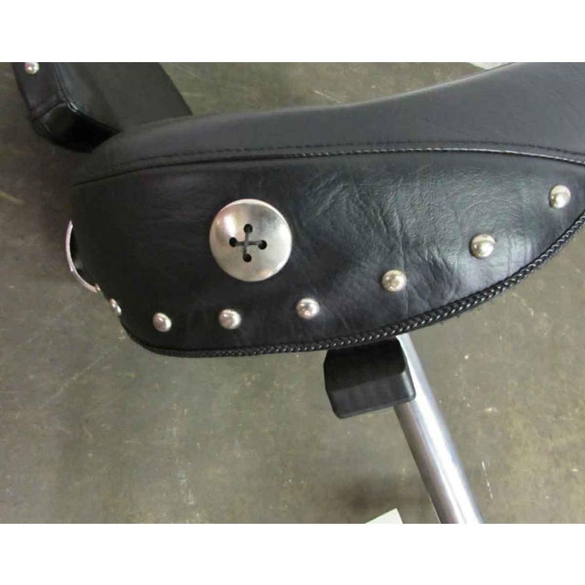 Studded Black Leather Stool For Sale - Image 9 of 10