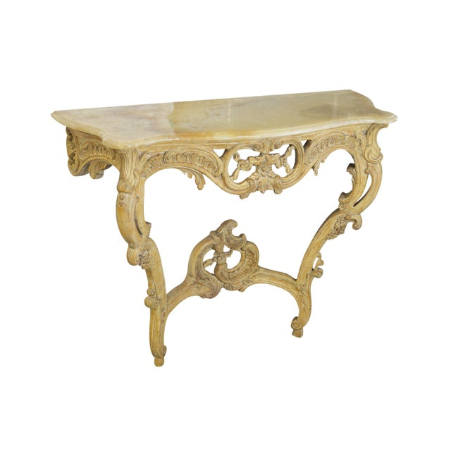 Vintage Onyx-Top French-Style Console Table - Image 2 of 6