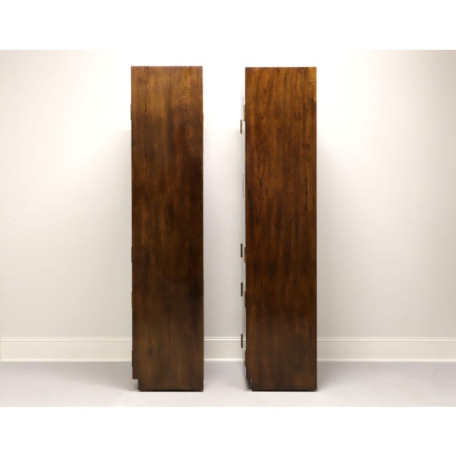 1980s Henredon Scene One Campaign Style Armoire Cabinets - Pair For Sale - Image 5 of 13