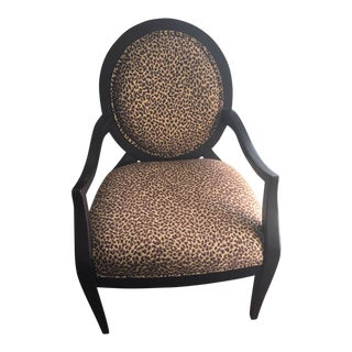Leopard Upholstered Side Chair For Sale