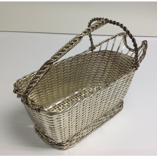 Christophle Silver Woven Wine Basket Caddy | Chairish