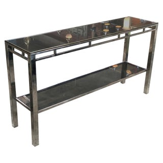Willy Rizzo Signed Chrome With Double Shelved Console Table, Italy, 1970s For Sale