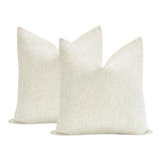 "22"" Metallic Linen Cashmere Pillows - a Pair For Sale"