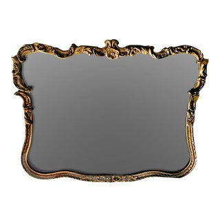 20th Century Louis XV Style Hand Created Giltwood and Gesso Curve Shaped Wall Mirror For Sale
