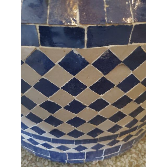 2010s White & Blue Moroccan Mosaic Fountain For Sale - Image 5 of 6