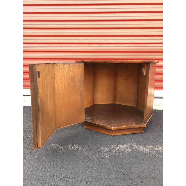 1960s Mid Century Modern Round End Table With Storage Cabinet For Sale - Image 9 of 10
