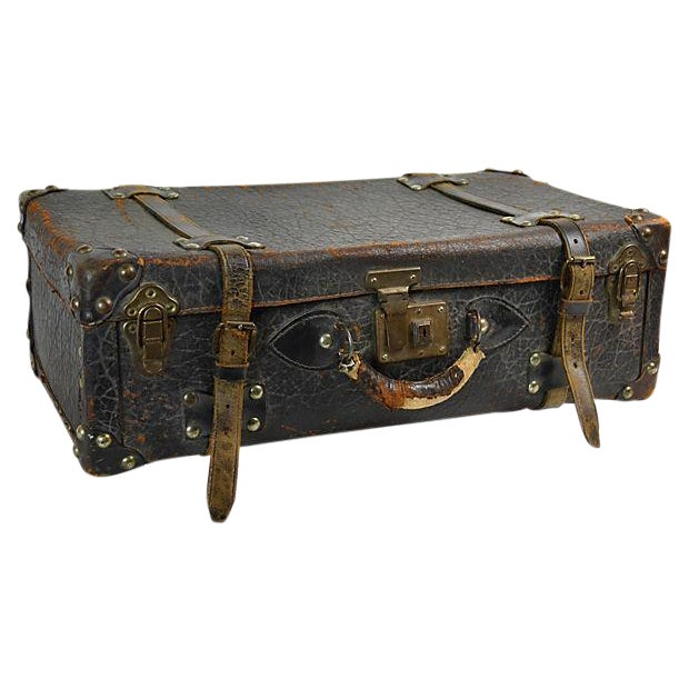 Vintage European Leather Suitcase For Sale