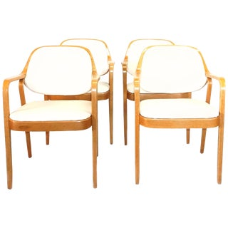 20th Century Don Pettit Knoll Bentwood Walnut Armchairs - Set of 4 For Sale