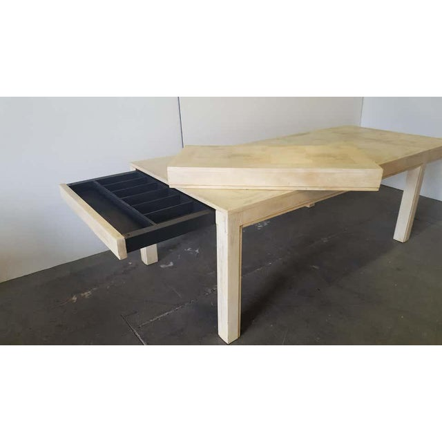 Beige Restored Large Parson Mid-Century Dining Table For Sale - Image 8 of 11