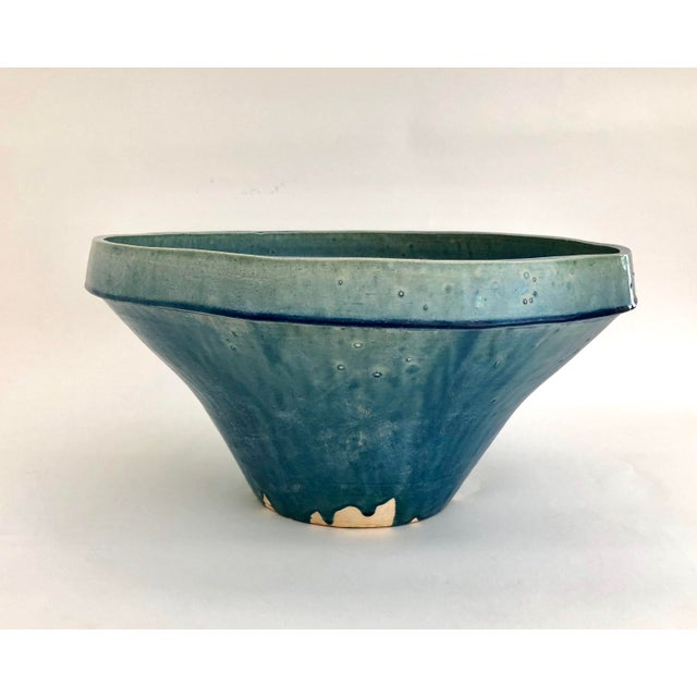 Asian Boho Chic Cerulean Glazed Pottery Bowl For Sale - Image 3 of 6