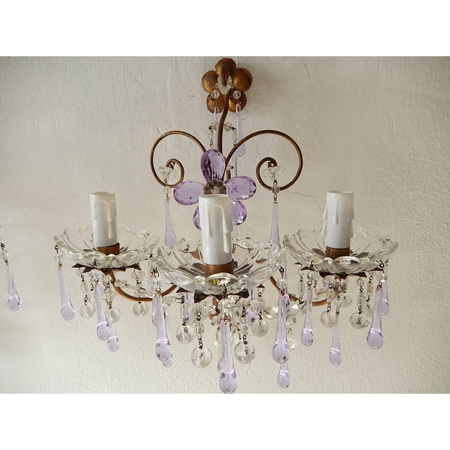French Murano Drops Lavender Crystal Flowers Three-Light Sconces, circa 1920 For Sale - Image 4 of 10