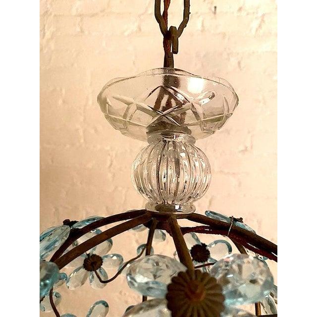 Italian Crystal Flower Pendant Light For Sale In New York - Image 6 of 12