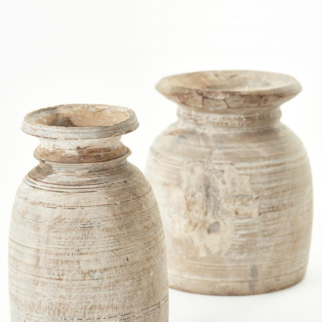 French Medium Early 20th Century French Turned Wood Vessel Pot For Sale - Image 3 of 5