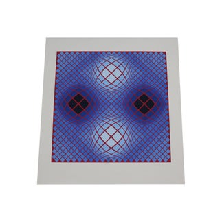 Victor Vasarely Signed Limited Edition Op Art Serigraph Print For Sale