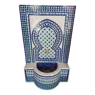Aqua, White, & Blue Moroccan Mosaic Fountain