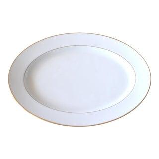 Noritake Oval White Gold Edging Serving Platter Porcelain For Sale