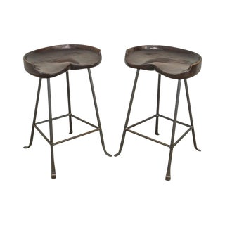Custom Quality Solid Wood Seat Pair of Iron Backless Bar Stools For Sale