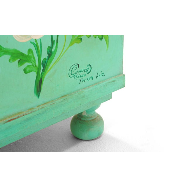 Green Salvador Corona Hand Painted Cabinet, Mexico / Tucson, 1940s, Signed For Sale - Image 8 of 10